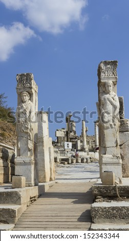 EPHESUS, TURKEY July 30 Historical statue at Ephesus, Turkey July 30 2013. Ephesus was an ancient Greek city, and later a major Roman city and one of the largest cities in the Mediterranean world. - stock photo