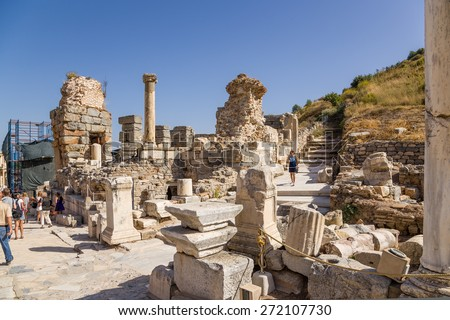 EPHESUS, TURKEY - JUN 28, 2014: Photo of the ruins of the ancient city. Ephesus is a candidate for inscription on the World Heritage list of UNESCO