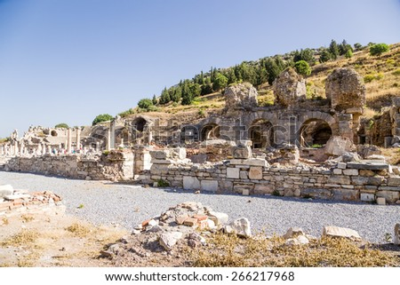 Ephesus, Turkey. The ruins of the baths, the Basilica and the Odeon, the Roman period - stock photo