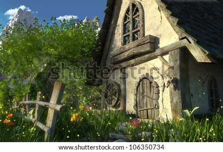 epic fairy tale scene with an old wooden house - stock photo