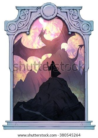Epic fantasy illustration of a fire dragon spreading its wings above the mountains framed with a stone decorated hand drawn arch - stock photo