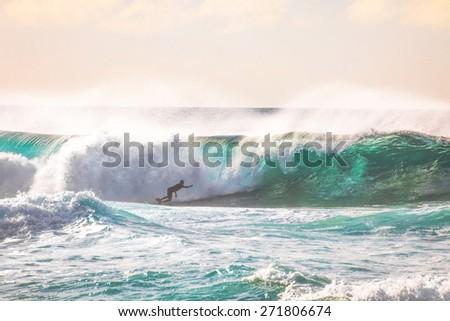 Epic Hawaiian Surf on Oahu's North Shore - stock photo