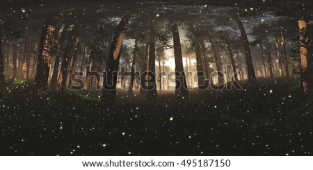 Epic Mysterious Magic Forest Sunset with Fireflies VR360 3D Illustration