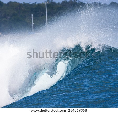 Epic Ocean Blue Wave near Lembongan island,Indonesia. - stock photo