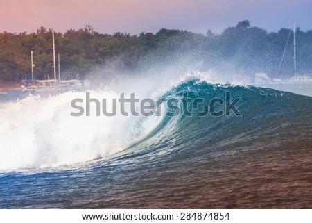 Epic Ocean Blue Wave near Lembongan island,Indonesia. - stock photo