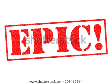 EPIC! red Rubber Stamp over a white background. - stock photo