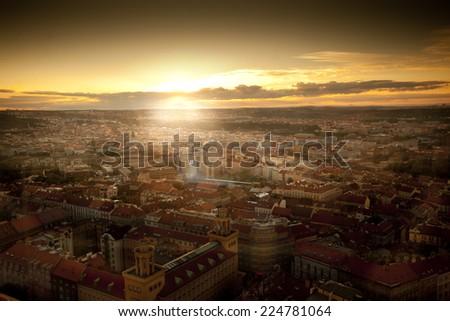 Epic sunset over Prague city with football stadium - stock photo