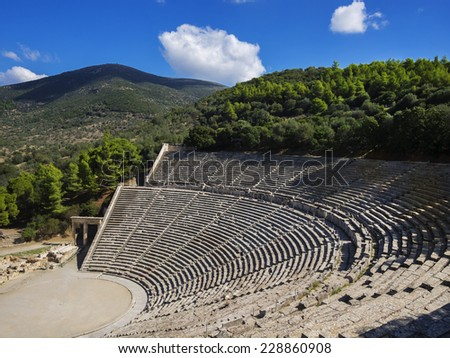 Epidaurus Theater. The theater was designed by Polykleitos the Younger in the 4th century BC.  - stock photo
