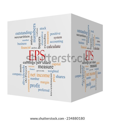 EPS 3D cube Word Cloud Concept with great terms such as earnings, per, share, stock and more. - stock photo