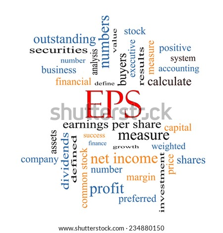 EPS Word Cloud Concept with great terms such as earnings, per, share, stock and more. - stock photo
