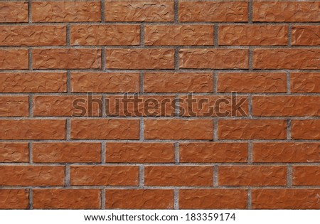 Equal and simple wall with new, nice bricks. - stock photo