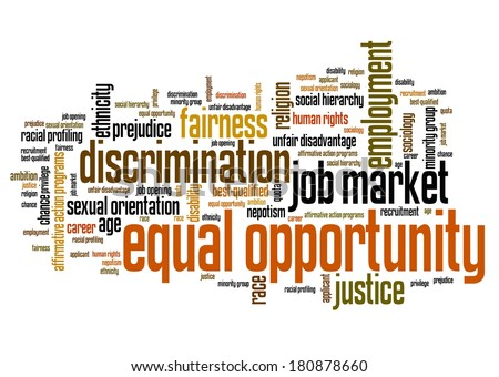 Equal opportunity issues and concepts word cloud illustration. Word collage concept. Gender employment words. - stock photo