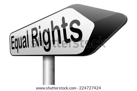 equal rights no discrimination and same opportunities for all women man disabled black and white solidarity discrimination of people with disability or physical and mental handicap  - stock photo