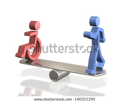 Equal rights of people with disabilities and able bodied person. - stock photo
