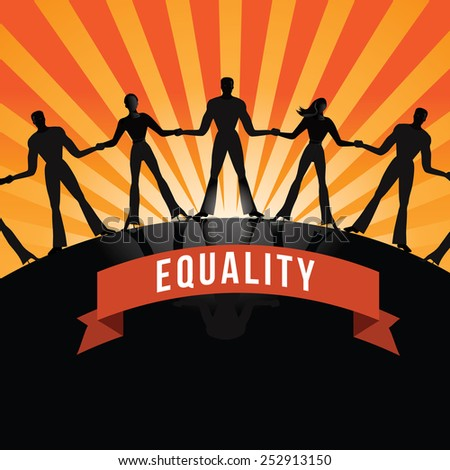 Equality among people burst royalty free stock illustration - stock photo