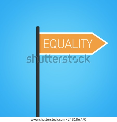 Equality nearby, orange road sign concept, flat design - stock photo