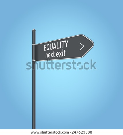 Equality next exit, dark grey road sign concept on blue background - stock photo