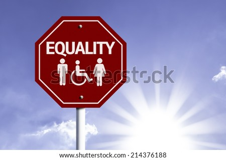 Equality red sign with sun background  - stock photo