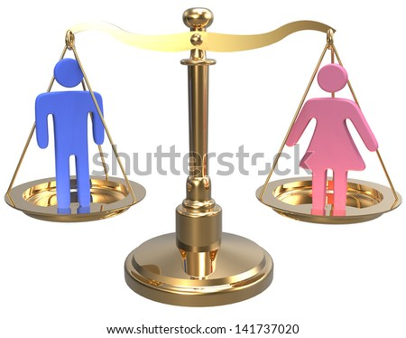 Equality scales weigh gender justice and sex issues - stock photo