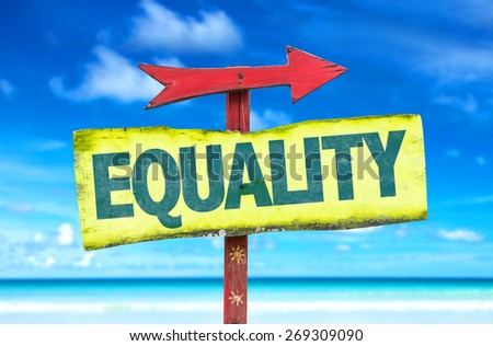 Equality sign with beach background - stock photo