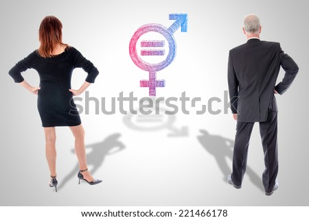 Equality woman man concept - stock photo