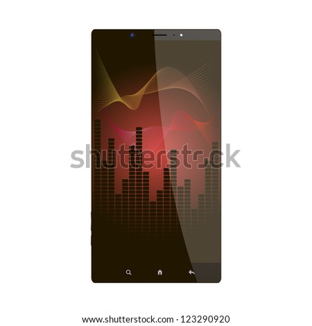 Equalizer wallpaper on mobile phone - stock photo