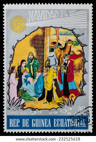 EQUATORIAL GUINEA - CIRCA 1974: A stamp printed by Equatorial Guinea, shows the birth of the Son of God, circa 1974