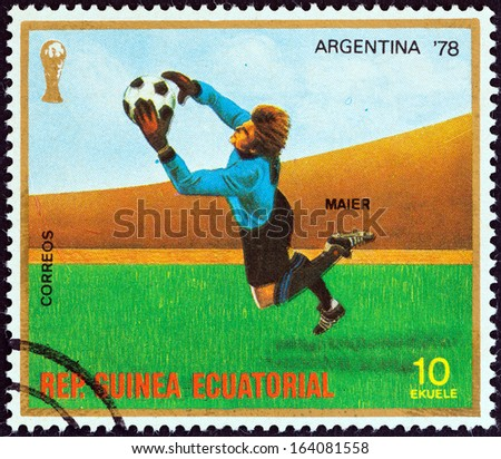 "EQUATORIAL GUINEA - CIRCA 1977: A stamp printed in Equatorial Guinea from the "" Football World Cup, Argentina 1978"" issue shows Sepp Maier, circa 1977.  - stock photo"