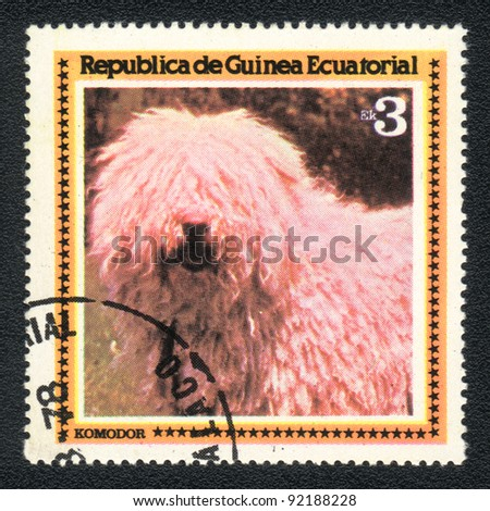 EQUATORIAL GUINEA - CIRCA 1978: A stamp printed in EQUATORIAL GUINEA shows  a Komondor,  from series Breeds of dogs, circa 1978 - stock photo
