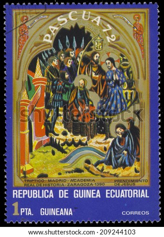 EQUATORIAL GUINEA - CIRCA 1972: A stamp printed in Equatorial Guinea, shows Crucifixion, circa 1972