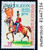 EQUATORIAL GUINEA - CIRCA 1974: A stamp printed in Equatorial Guinea shows soldiers of the Imperial Guard of Napoleon in uniform, circa 1974. Series - stock photo
