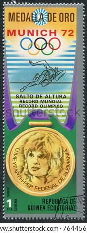 EQUATORIAL GUINEA - CIRCA 1972: A stamp printed in the Equatorial Guinea, is devoted to the Summer Olympics in Munich-72, circa 1972 - stock photo