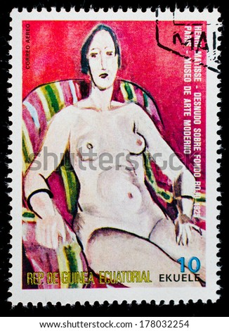 "EQUATORIAL GUINEA - CIRCA 1974: A stamp printed in the Equatorial Guinea, shows a painted picture of Henri Matisse's ""Nude"", circa 1974 - stock photo"