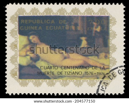 EQUATORIAL GUINEA - CIRCA 1976: A stamp printed in the Equatorial Guinea, the 400 th anniversary of the death of Titian, shows a picture of Venus of Urbino, circa 1976 - stock photo