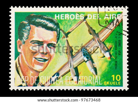 EQUATORIAL GUINEA - CIRCA 1974: Mail stamp printed in Equatorial Guinea featuring vintage WW2 military fighter ace Richard Bong, circa 1974 - stock photo