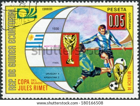 EQUATORIAL GUINEA - CIRCA 1973: Postage stamp printed in Equatorial Guinea, is dedicated to Football World Cup 1974, Germany, shows the final 1930 Montevideo, circa 1973 - stock photo