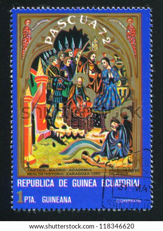 EQUATORIAL GUINEA - CIRCA 1972: stamp printed by Equatorial Guinea, shows Arrest of Jesus, circa 1972