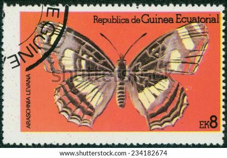 EQUATORIAL GUINEA - CIRCA 1972: stamp printed by Equatorial Guinea, shows Butterfly, circa 1972 - stock photo