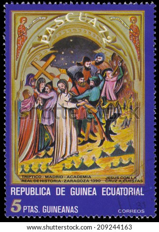 EQUATORIAL GUINEA - CIRCA 1972: stamp printed by Equatorial Guinea, shows Crucifixion, circa 1972