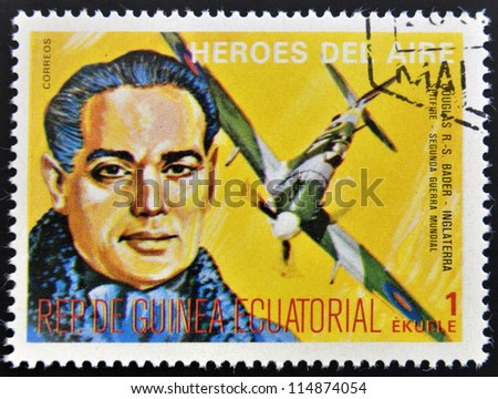 EQUATORIAL GUINEA - CIRCA 1974: stamp printed in Guinea dedicated to air heroes, shows Douglas Bader, historic aviator of the Second World War, circa 1974