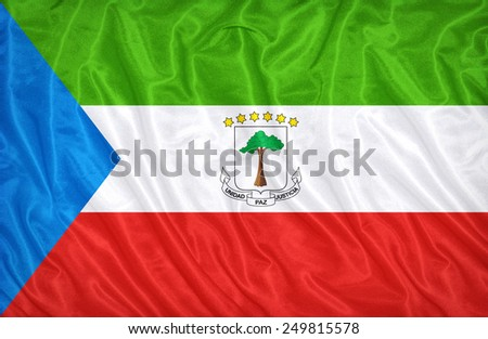 Equatorial Guinea flag pattern on the fabric texture ,vintage style - stock photo