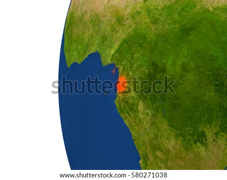 Equatorial Guinea on planet Earth. 3D illustration with detailed realistic planet surface. Elements of this image furnished by NASA.