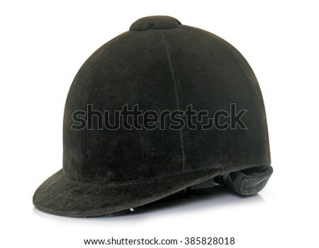 Equestrian helmet in front of white background - stock photo
