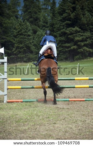 Equestrian horse and rider jump over a tall obstacle in a competition - stock photo