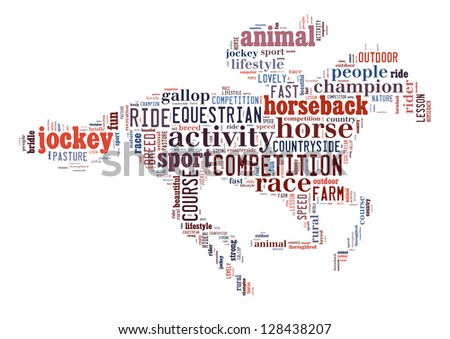 Equestrian info-colorful text graphic and arrangement concept on white background (word cloud)