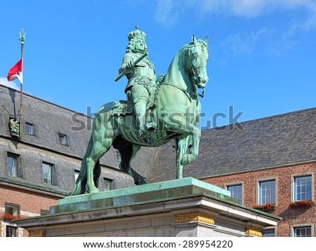 Equestrian monument of Johann Wilhelm II (Jan Wellem) in Dusseldorf, Germany. The monument was erected in 1711. - stock photo