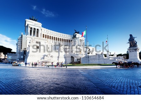 Equestrian monument to Victor Emmanuel II near Vittoriano in Rome, Italy - stock photo