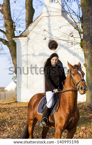 equestrian on horseback, Lomec, Czech Republic