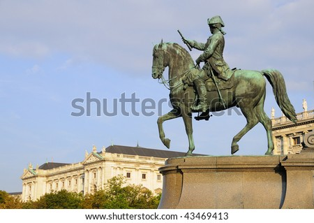 Equestrian Royal Figure Looking over Vienna