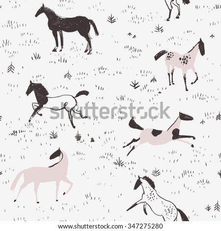 Equestrian seamless pattern with free horses in the field - stock photo